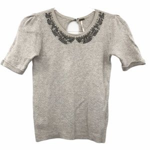 Free People Small Knit Short Sleeve Sweater Beaded